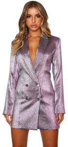 White Fox Blazer Metallic Glitter Dress