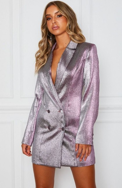 White Fox Blazer Metallic Glitter Dress Image 1