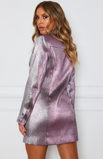 White Fox Blazer Metallic Glitter Dress Image 2
