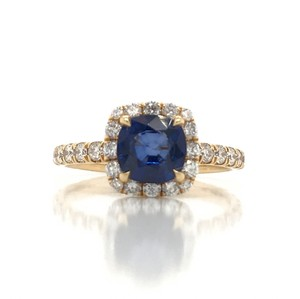 Sea Wave Diamonds 1.38CT Blue Sapphire with Diamond Halo Cushion Shaped Engagement Ring