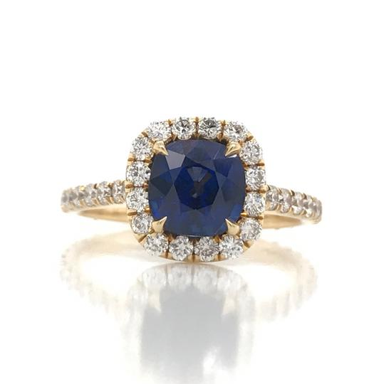 Sea Wave Diamonds 1.38CT Blue Sapphire with Diamond Halo Cushion Shaped Engagement Ring Image 1