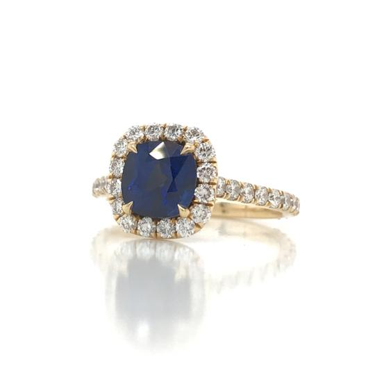 Sea Wave Diamonds 1.38CT Blue Sapphire with Diamond Halo Cushion Shaped Engagement Ring Image 2