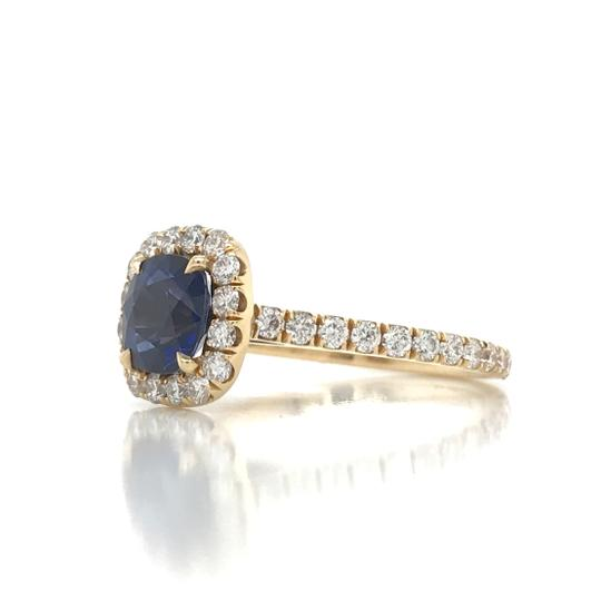 Sea Wave Diamonds 1.38CT Blue Sapphire with Diamond Halo Cushion Shaped Engagement Ring Image 4