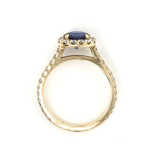 Sea Wave Diamonds 1.38CT Blue Sapphire with Diamond Halo Cushion Shaped Engagement Ring Image 5