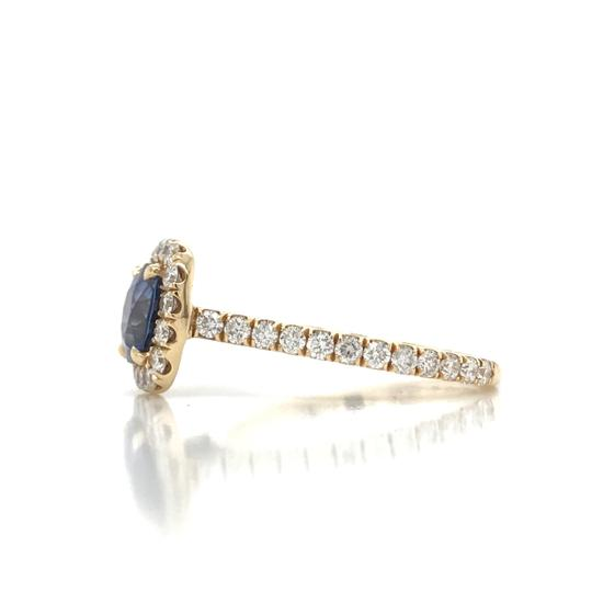 Sea Wave Diamonds 1.38CT Blue Sapphire with Diamond Halo Cushion Shaped Engagement Ring Image 6