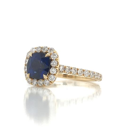 Sea Wave Diamonds 1.38CT Blue Sapphire with Diamond Halo Cushion Shaped Engagement Ring Image 7