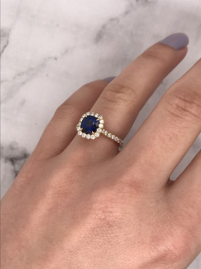 Sea Wave Diamonds 1.38CT Blue Sapphire with Diamond Halo Cushion Shaped Engagement Ring Image 9