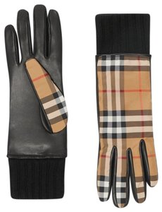 Burberry Burberry Leather and Check Gloves