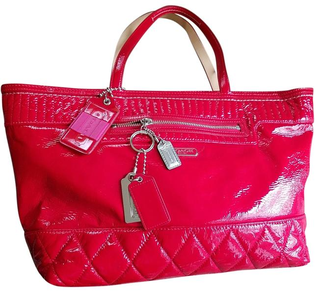 Item - Poppy Quilted Liquid Gloss Red Patent Leather Tote