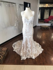 Maggie Sottero Ivory Over Champagne Lace Abbie Formal Wedding Dress Size 10 (M)