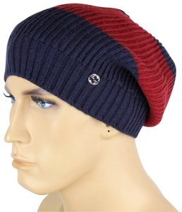 Gucci Gucci Blue Red Blue Wool Beanie Hat Interlocking G Detail 310777 4074