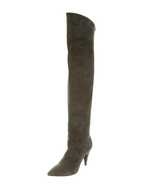 Item - Sage Ysl Suede Thigh High Over The Knee Boots/Booties Size EU 39.5 (Approx. US 9.5) Regular (M, B)