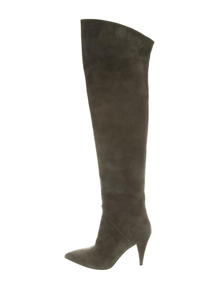 714a982a Saint Laurent Sage Ysl Suede Thigh High Over The Knee Boots/Booties Size EU  39.5 (Approx. US 9.5) Regular (M, B) 72% off retail
