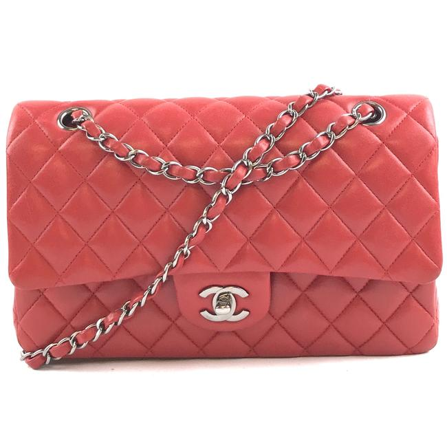 Item - Double Flap #29519 Classic Medium Cc Quilted Red with Silver Hardware Lambskin Leather Shoulder Bag
