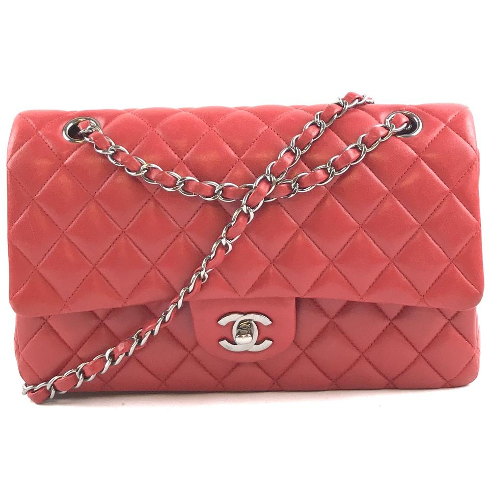 f1a7fe15d18def Chanel Double Flap #29519 Classic Medium Cc Quilted Red with Silver  Hardware Lambskin Leather Shoulder Bag