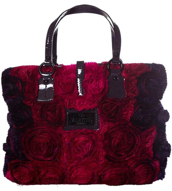 Item - Multi Color Rose Petal Red Silk Tote
