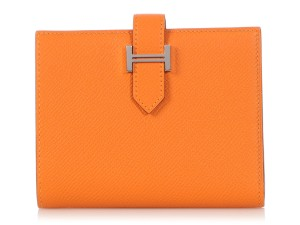 Hermès APRICOT AND ROSE AZALEE CHEVRE MYSORE VERSO COMPACT BEARN WALLET