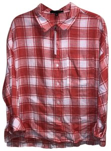 Sanctuary Linen Checkered Button Up Sweater