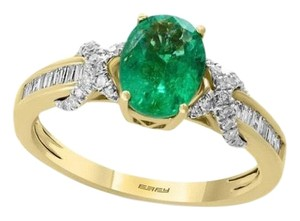cba281bac EFFY 14K Yellow Gold Natural Columbian Emerald & Crossover Diamond Ring