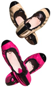 Bloch Cap Toe Ballet Leather Chanel Patent Leather Pink /Tan Flats