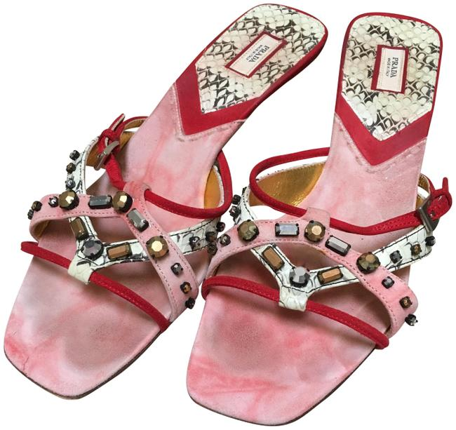 Item - Red Pink and Snakeskin Kitten Heel Jeweled Sandals Size EU 38 (Approx. US 8) Regular (M, B)