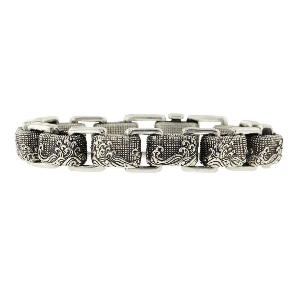 David Yurman Silver 925 Sterling Men S Waves Link Chain Bracelet 24 Off Retail