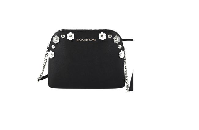 Item - Cindy Lg Dome Black/Silver Floral Leather Cross Body Bag