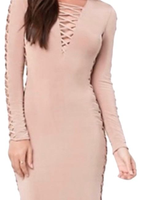 Item - Nude Lace Up Slinky Midi Mid-length Night Out Dress Size 16 (XL, Plus 0x)