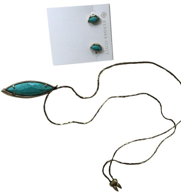 Item - Turquoise and Brushed Gold Pendant Necklace Earring Set