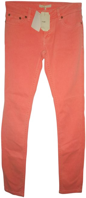 Item - Neon Orange Light Wash XS Eu 34 Skinny Jeans Size 25 (2, XS)
