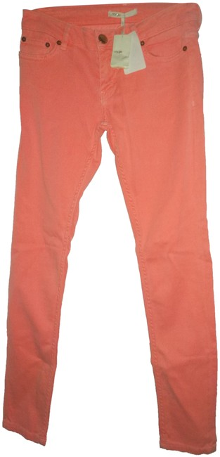 Item - Neon Orange Light Wash 36 European Skinny Jeans Size 26 (2, XS)