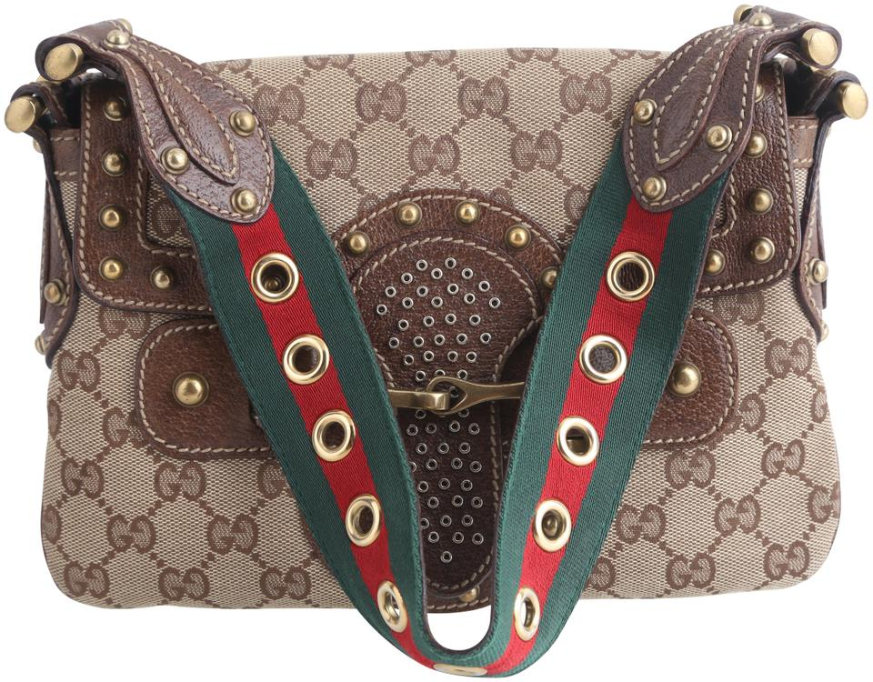 fab0bb365 Gucci Flap Pelham Monogram Studded Runway Brown Canvas Shoulder Bag ...