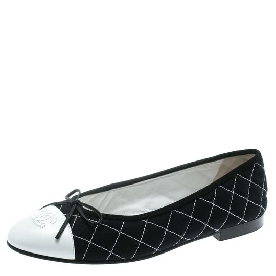 Chanel Quilted Canvas Leather Blue Flats Image 1