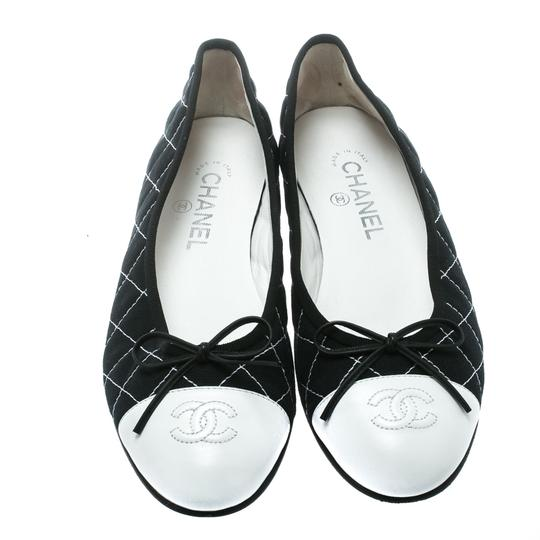 Chanel Quilted Canvas Leather Blue Flats Image 2