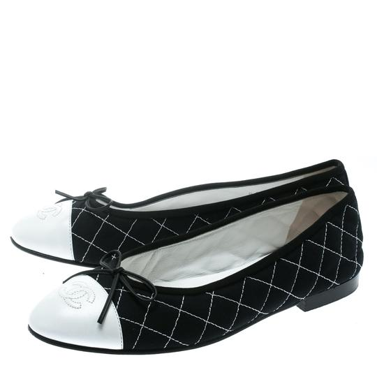 Chanel Quilted Canvas Leather Blue Flats Image 3