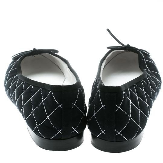 Chanel Quilted Canvas Leather Blue Flats Image 4