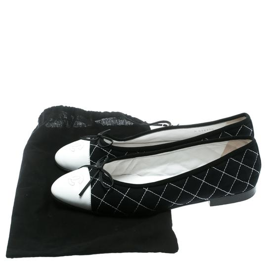 Chanel Quilted Canvas Leather Blue Flats Image 7