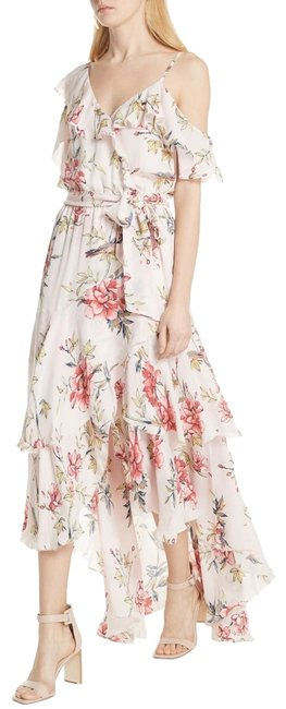 Item - Pink Floral Off Shoulder Ruffled Layered Maxi Long Cocktail Dress Size 8 (M)