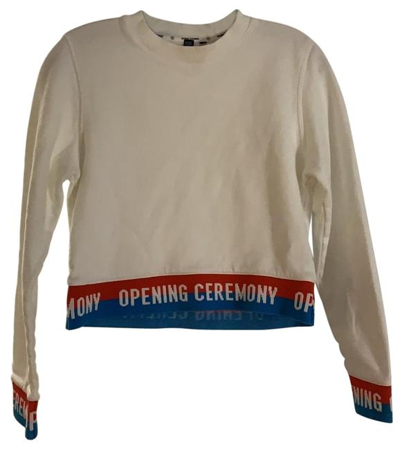 Item - White with Blue/Red Logo Cropped Crewneck Sweatshirt/Hoodie Size 0 (XS)