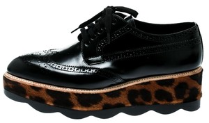 Prada Leather Leopard Platform Black Flats