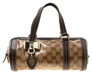 Gucci Crystal Canvas Leather Satchel in Beige