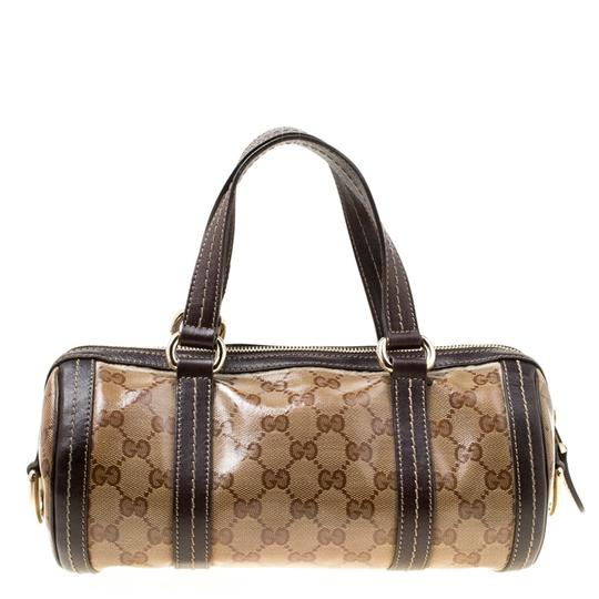 Gucci Crystal Canvas Leather Satchel in Beige Image 1