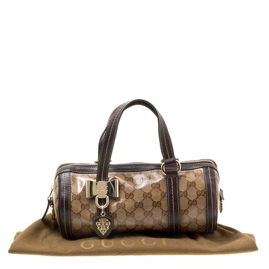 Gucci Crystal Canvas Leather Satchel in Beige Image 11
