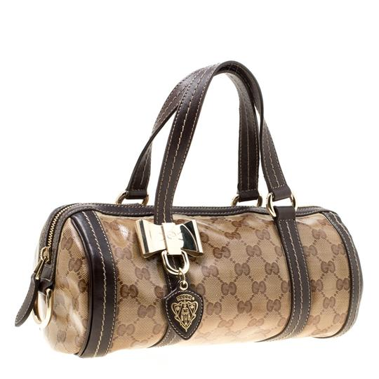 Gucci Crystal Canvas Leather Satchel in Beige Image 3