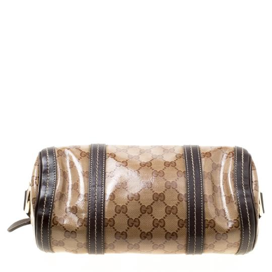 Gucci Crystal Canvas Leather Satchel in Beige Image 4