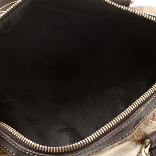 Gucci Crystal Canvas Leather Satchel in Beige Image 5
