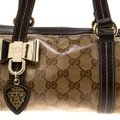 Gucci Crystal Canvas Leather Satchel in Beige Image 7