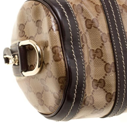 Gucci Crystal Canvas Leather Satchel in Beige Image 9