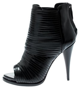 Givenchy Strappy Leather Peep Toe Black Boots