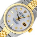 Rolex Mens SS/Yellow Gold with Diamond Dial Fluted Bezel